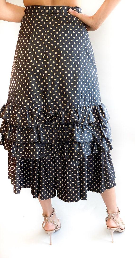 70's Yves Saint Laurent Two-Layer Ruffled Skirt - image 3