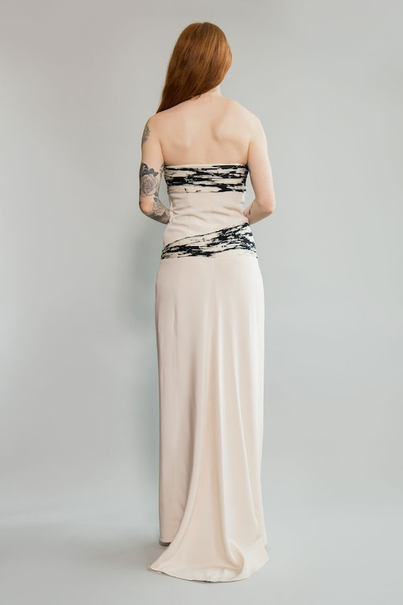 90s Silk and Chiffon Strapless Gown - image 3