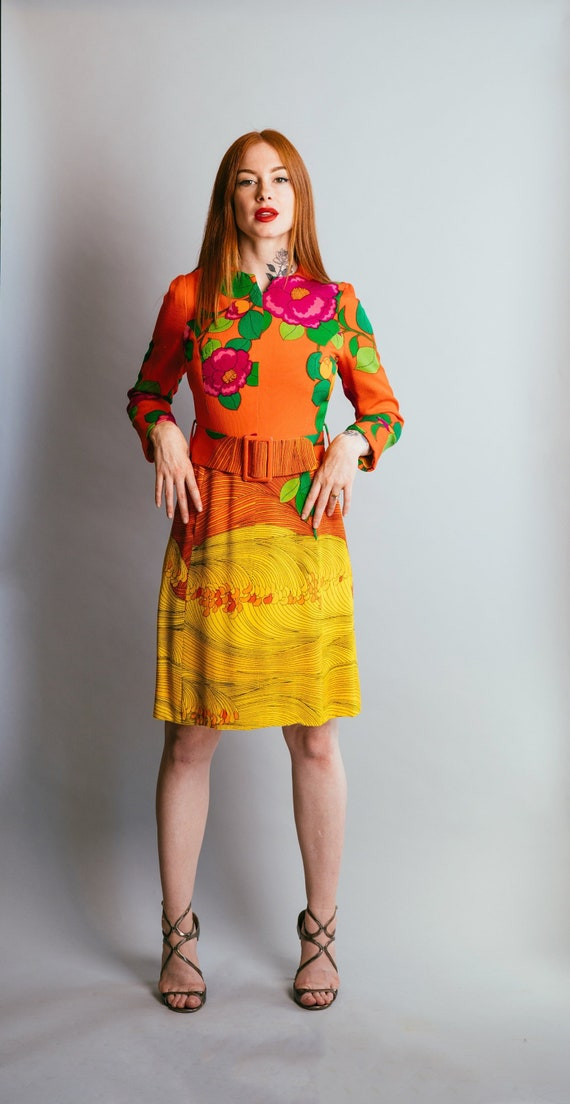 Vintage Hanae Mori Silk Floral Print Cocktail Dres