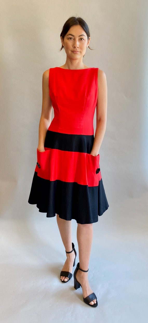 Red and Black Color Block Dress