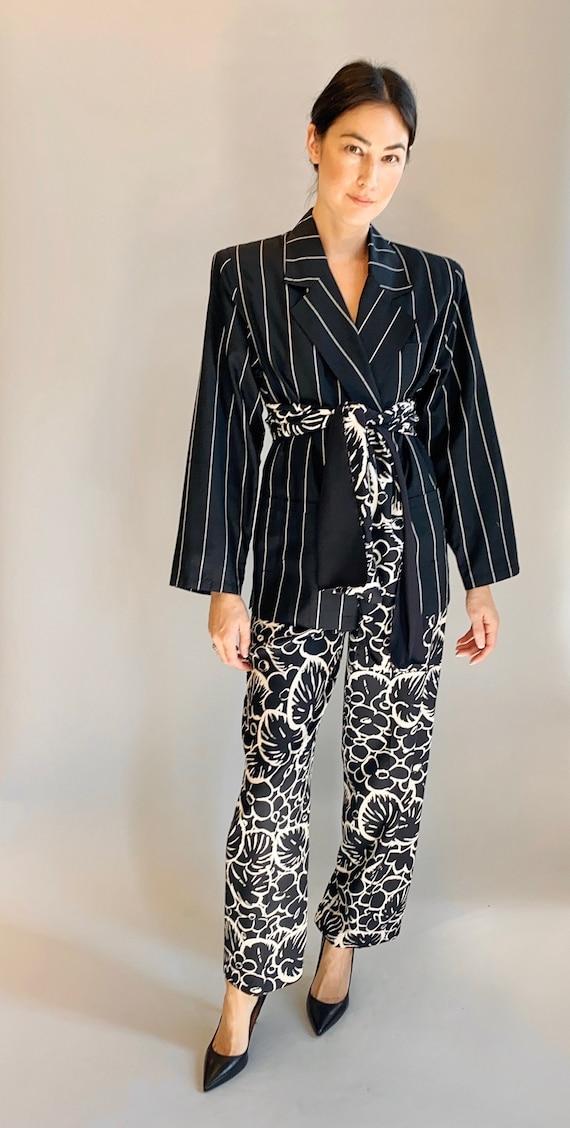 VTG 1980's Gianni Versace Silk Pinstripe & Printed