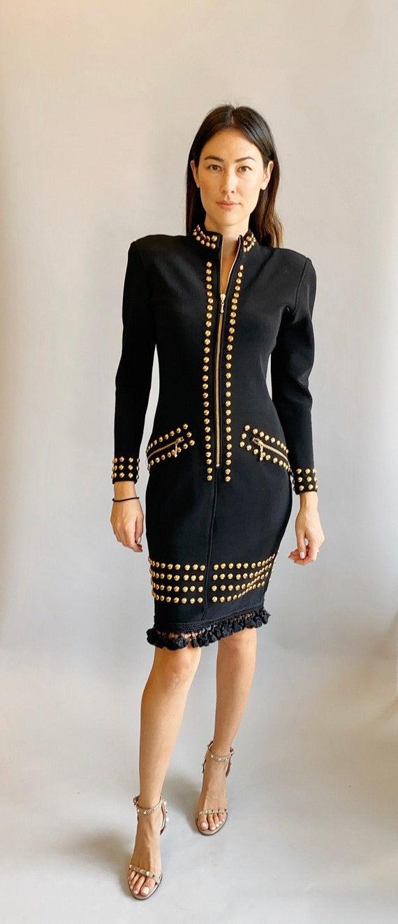 Tadashi Gold Studded & Tassel Black Dress