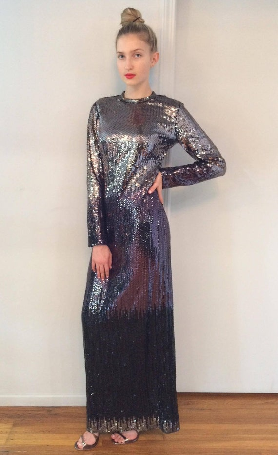 1970s Ruben Panis Ombre Sequined Gown