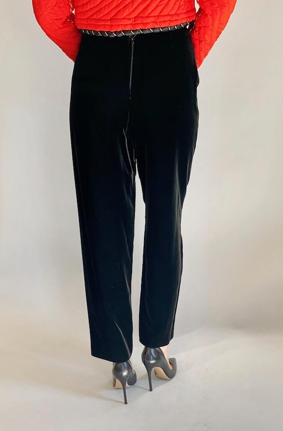 High Waisted Velvet Cigarette Pants