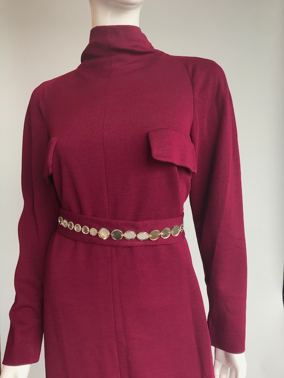 80's Pauline Trigere Wool Dress with Crystal Belt - image 5