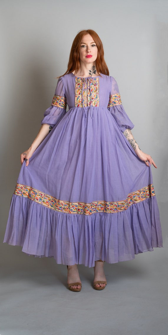 70s Violet Peasant Embroidered Dress