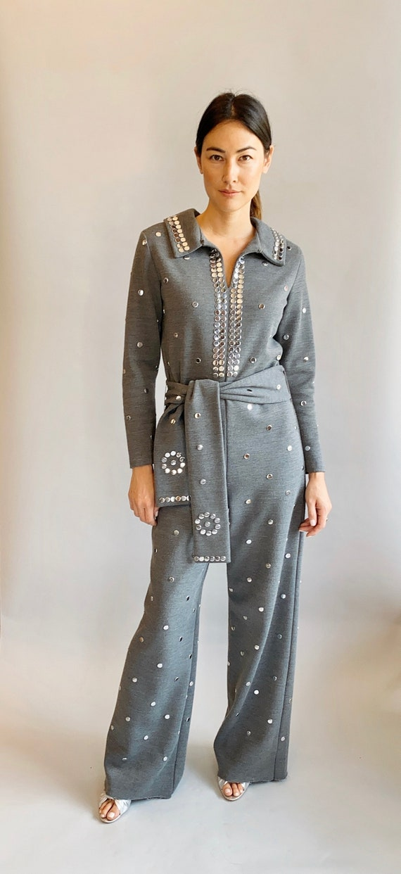 1970's Gray Wool Silver Studded, Belted Jumpsuit