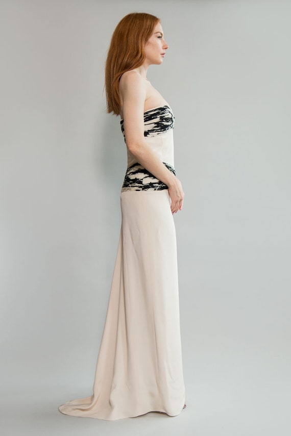 90s Silk and Chiffon Strapless Gown - image 2