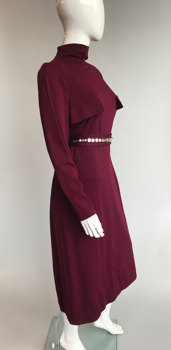 80's Pauline Trigere Wool Dress with Crystal Belt - image 2