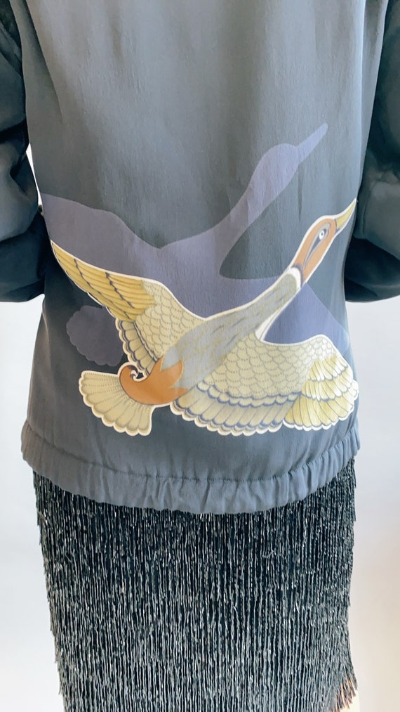 Silk Bomber Jacket with Crane/Goose Print