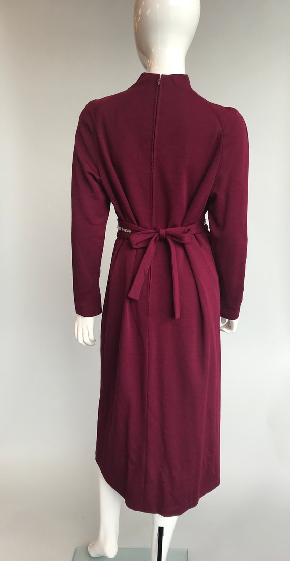 80's Pauline Trigere Wool Dress with Crystal Belt - image 3