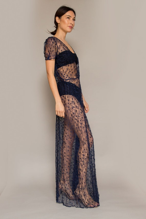 1930's Navy Lace Gown - image 2