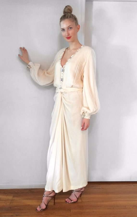 Vintage 1980's Galanos Beaded and Pleated Silk Chi