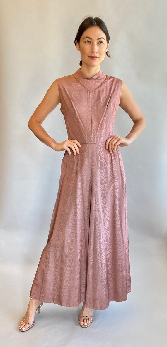 VTG 1970's Pale Pink Moire Cowl Neck Dress