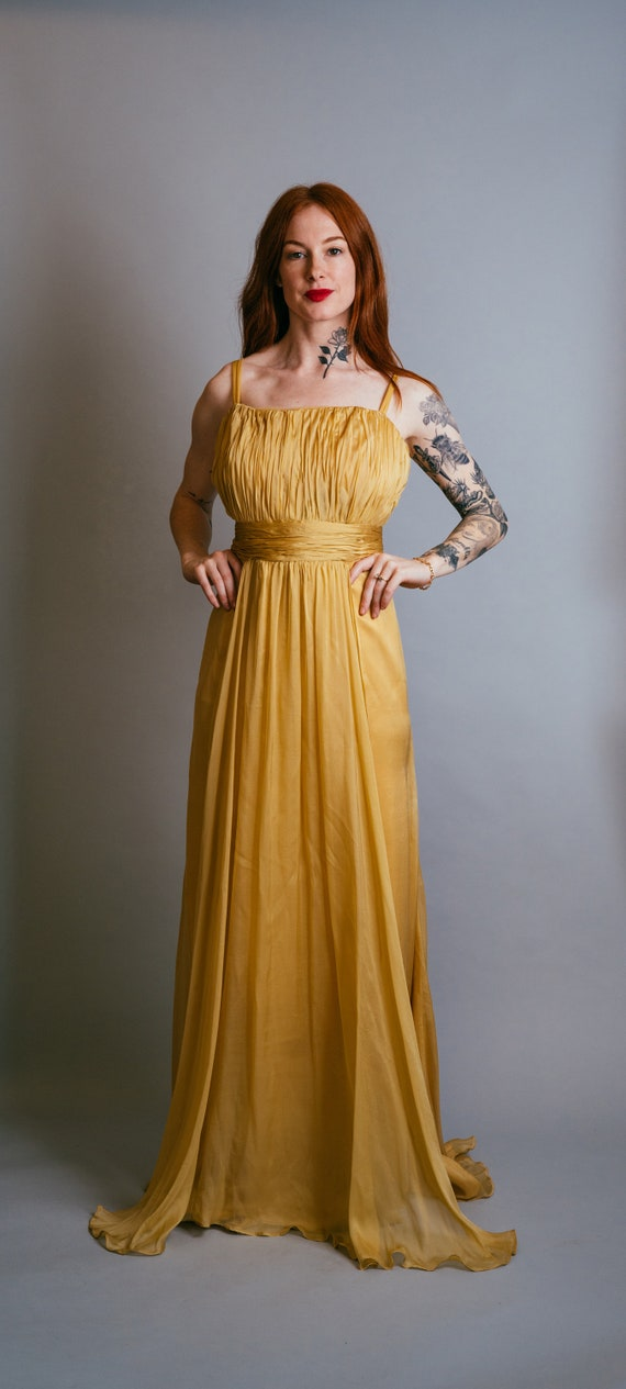 Mustard Gold Chiffon Gown with Train