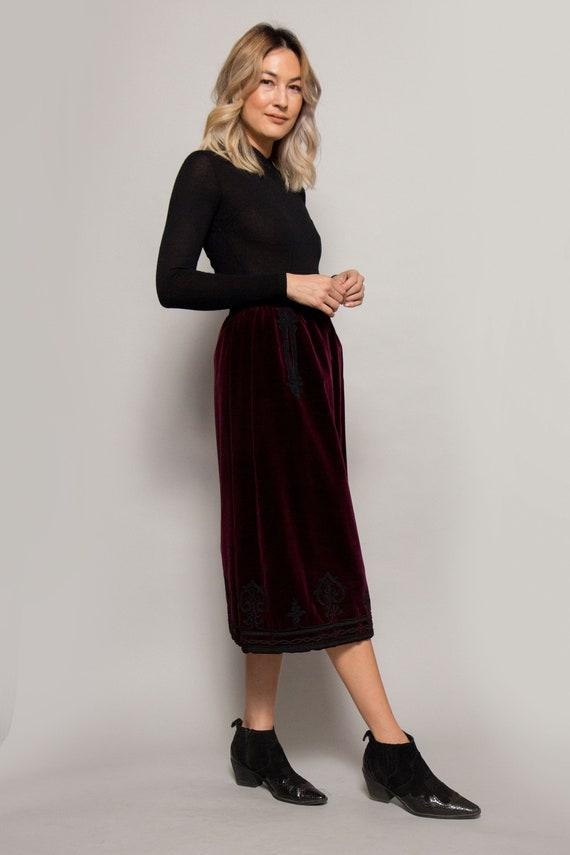 1970's Yves Saint Laurent Velvet Skirt W/Trim - image 3