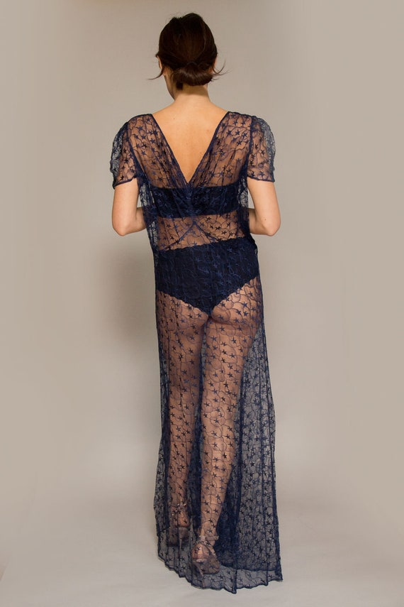 1930's Navy Lace Gown - image 3