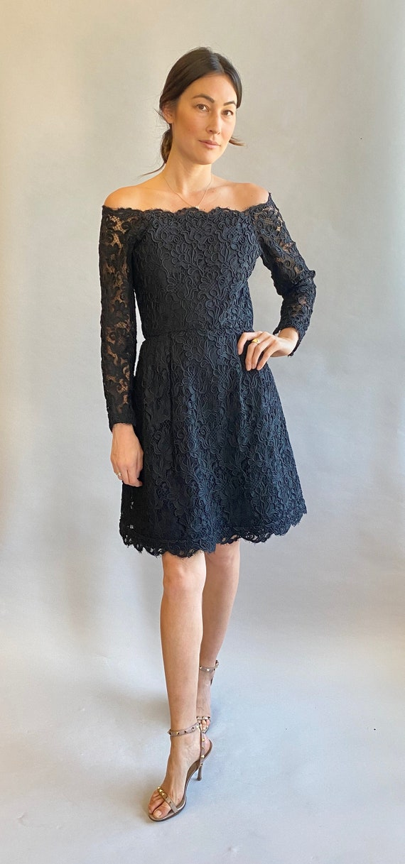 Scaasi Black Lace off the Shoulder Cocktail Dress