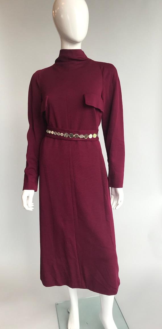80's Pauline Trigere Wool Dress with Crystal Belt
