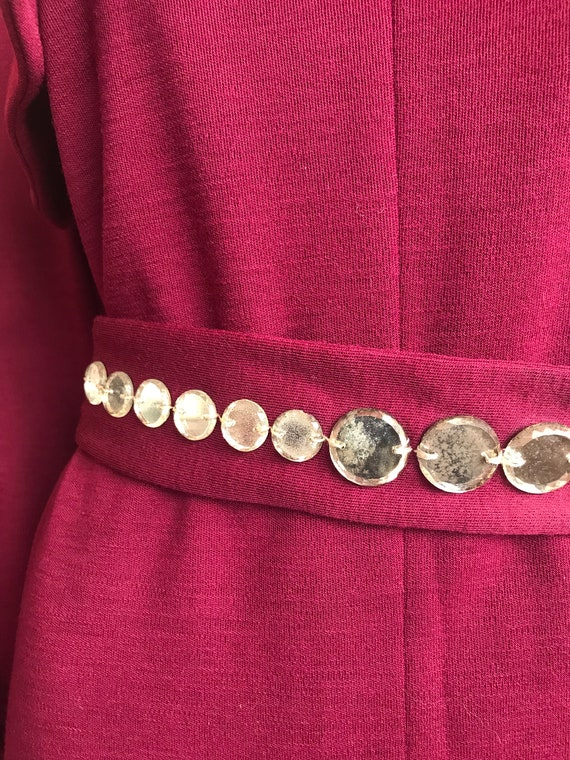 80's Pauline Trigere Wool Dress with Crystal Belt - image 6