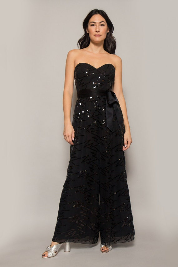 Ann Lawrence Strapless Sequin Jumpsuit