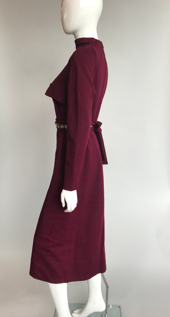 80's Pauline Trigere Wool Dress with Crystal Belt - image 4