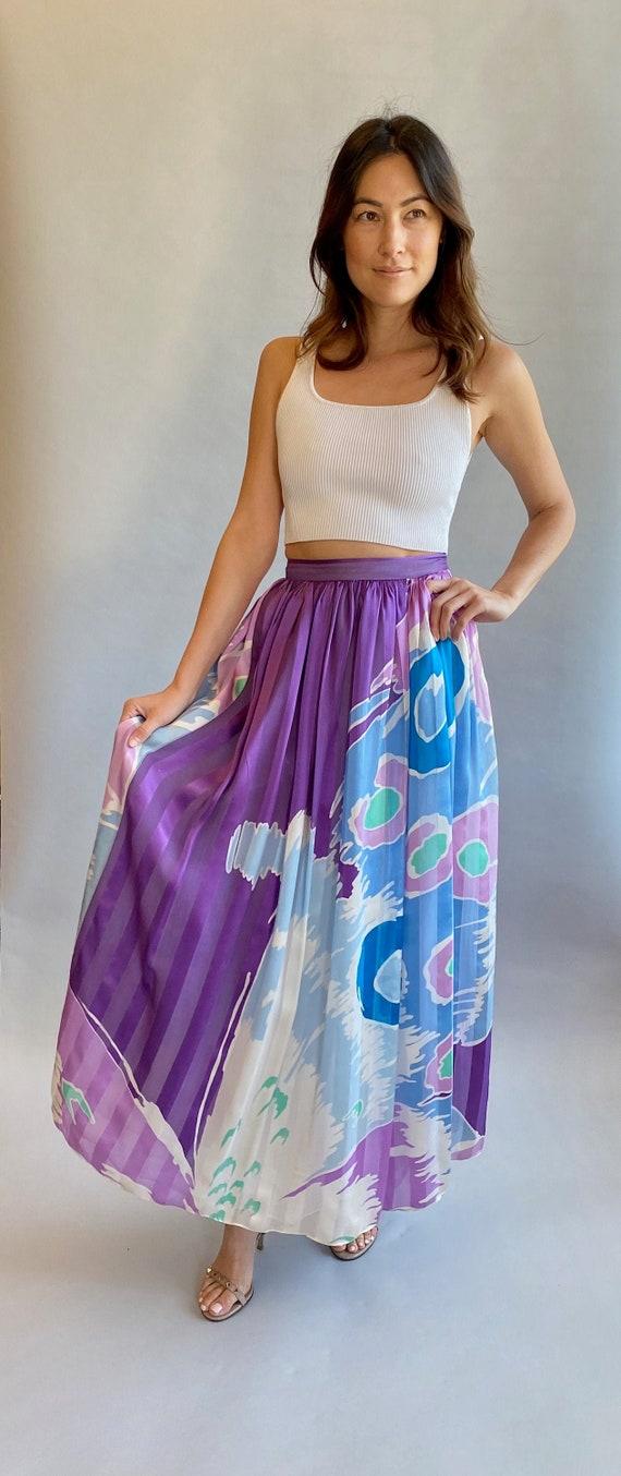 VTG Hanae Mori Silk Printed Skirt