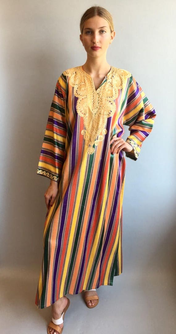 VTG 1970s Rainbow Striped Caftan