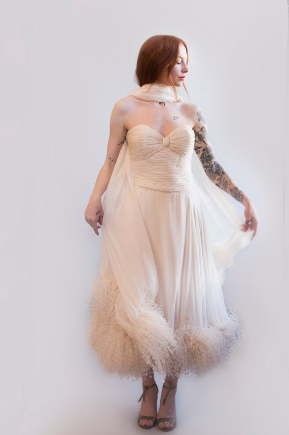 Vintage White Chiffon Ostrich Feather Cocktail Dre