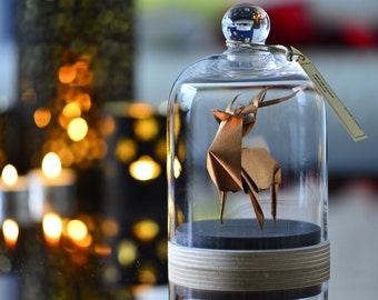 Sculpture Origami Deer. Paper anniversary gift for him. Taxidermy. Copper home decor. Curiosity Cabinet Ornament. First Wedding Gift For Her