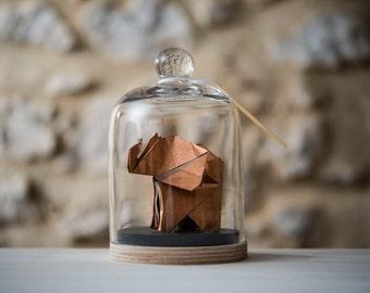 Origami Sculpture Elephant. Taxidermie. Decoration Tropical Cuivre. Cabinet Curiosité. Cadeau Naissance. Cadeau personnalisable pour elle