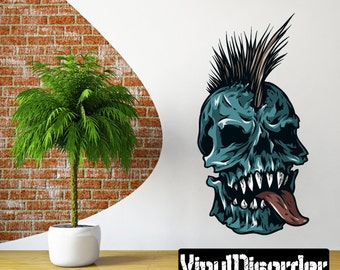 Mohawk Skull Wall Decal Wall Fabric SkullUScolor008ET Removable and Reusable Vinyl Decal