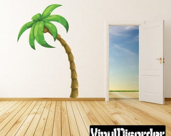Wall Fabric Palm Tree Wall Decal Removable and Reusable Vinyl Decal PalmTreeUScolor001ET