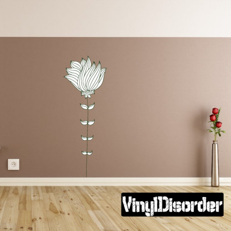 Wall Fabric Removable and Reusable Floral Flower Wall Decal Vinyl Decal FloralFlowerUScolor002ET