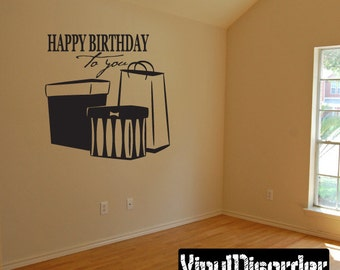 Happy birthday to you - Vinyl Wall Decal - Wall Quotes - Vinyl Sticker - Ce044HappyviiiET