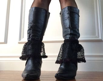 Crochet and lace Victorian style spats