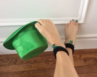 Crocheted St Patricks Day ankle cuffs