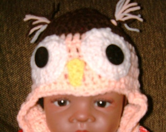Crocheted li'l owl hat