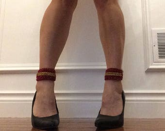 Red hot ankle cuffs