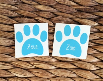 Dog Paw Decal - Dog Paw Name Decal - Vinyl Dog Decal - Custom Dog Paw Decal - Custom Vinyl Dog Decal - Doggie Decal - Puppy Decal -Paw Decal