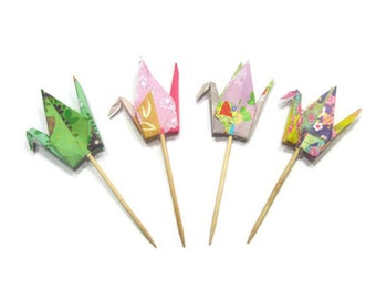 12 Paper Crane Origami Cupcake Topper Wedding Cake Made With Your Color Scheme Or Japanese Kimono Print Patterned