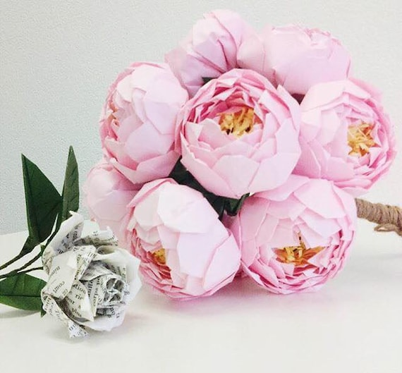 Peonies Wedding Centerpieces Paper Peony Arrangement Bouquet Etsy