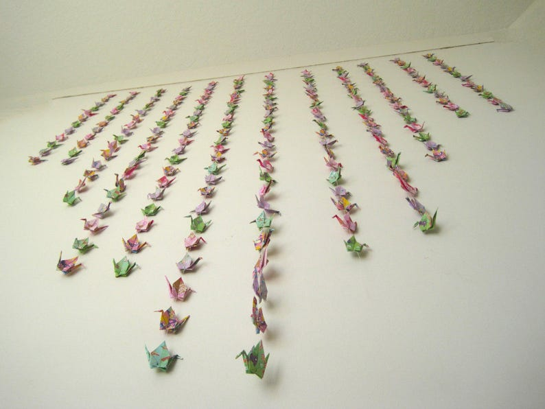 Photo Booth Backdrop 10 Origami Cranes on Strings