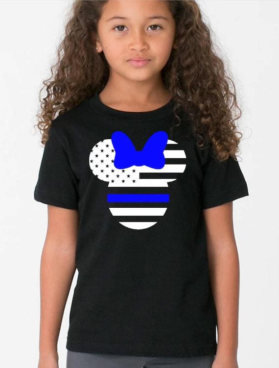 73107dc8 Girls Blue Line Minnie Police Tee Shirt Black White Officer Etsy