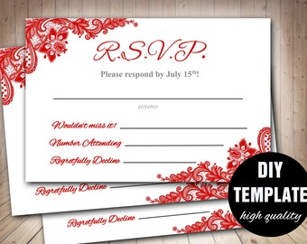 Red Lace RSVP Template, Red Wedding Response Card, Red Wedding RSVP, Red RSVP Card Instant Download, Autumn Wedding
