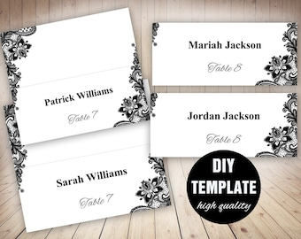 Black Wedding Placecard Template,Black Placecards Instant Download,Black and White Wedding Place cards Template in Lace Design