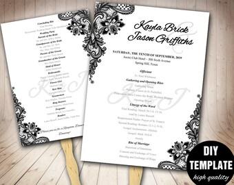 black and white wedding programs confetti wedding program etsy