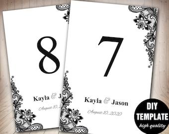 Konfetti Hochzeit Tisch Karte Vorlage schwarz und weiß