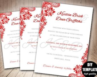 red wedding etsy