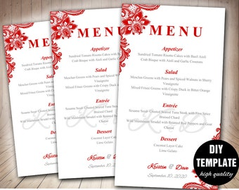 Red Wedding Menu Card Template,DIY Wedding Menu Template, Red Wedding Instant Download,Red Lace Wedding Menu Template, Red Menu Card